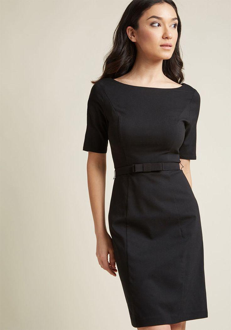 Ritzy Wishes Sheath Dress in Black in XXS - Short Sleeve Knee Length by ModCloth
