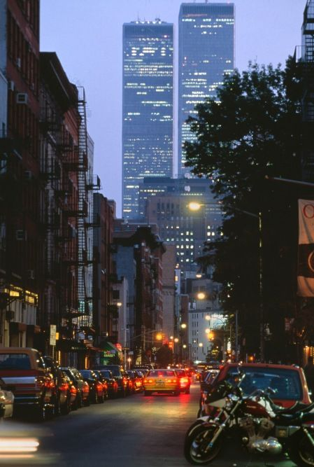 A view looking downtown towards the Twin Towers in lower Manhattan, New York City, 1994. - Never Forget.