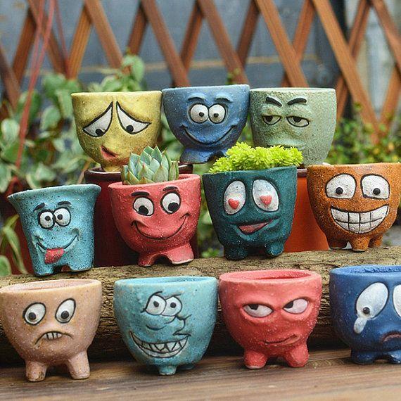 Ceramic Mini Succulent Planters /Small Vase Cartoon by RukawaBeads