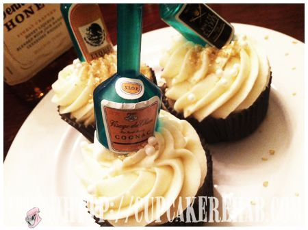 Prohibition Cupcakes made with Jack Daniels Honey Whiskey.  Perfect for the #Boardwalk Empire premiere on HBO tonight (sept. 16)
