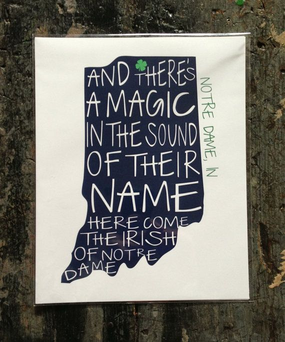 Notre Dame Fighting Irish Print on Etsy, $15.00...need this for my office