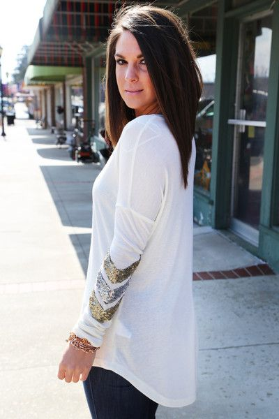 Sequin Chevron Tunic {Ivory} - The Rage
