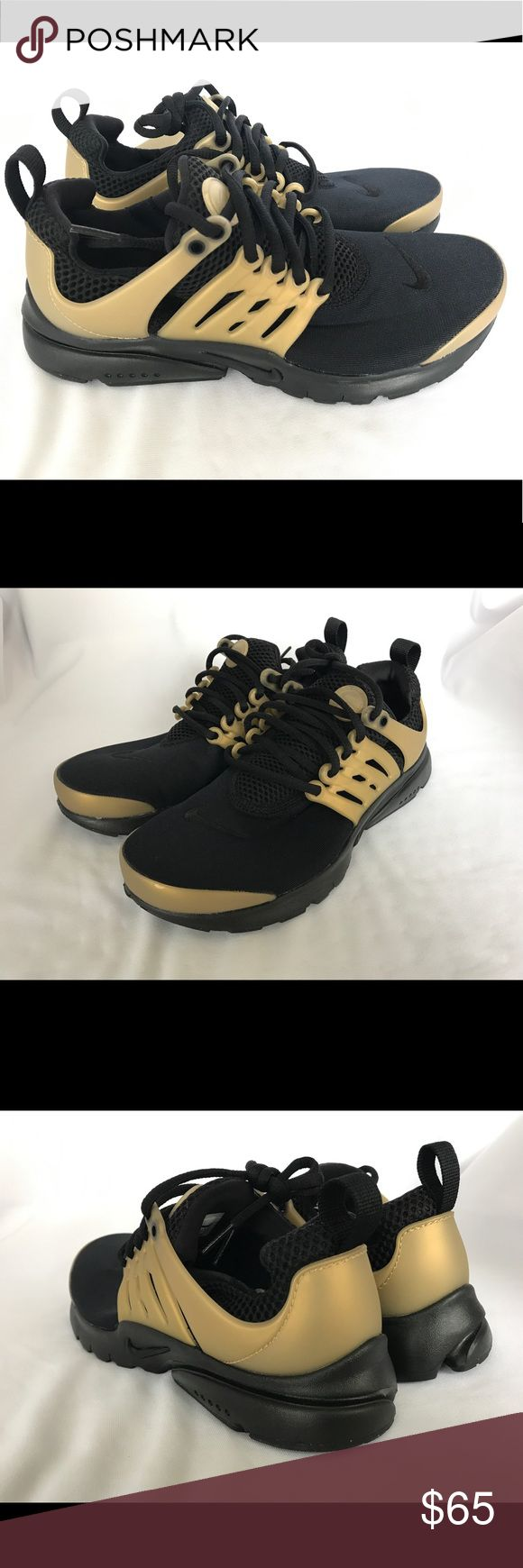 New NIKE Presto black/gold Sz 5 youth New, unused Nike Presto size 5Y. These are light weight and comfortable! They're perfect for every day use or running. These will also fit size 6-6.5 women's. Nike Shoes Sneakers