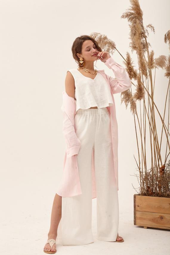 Ivory linen pants, elegant linen pants, linen beach pants, high waisted pants, gaucho pants, palazzo