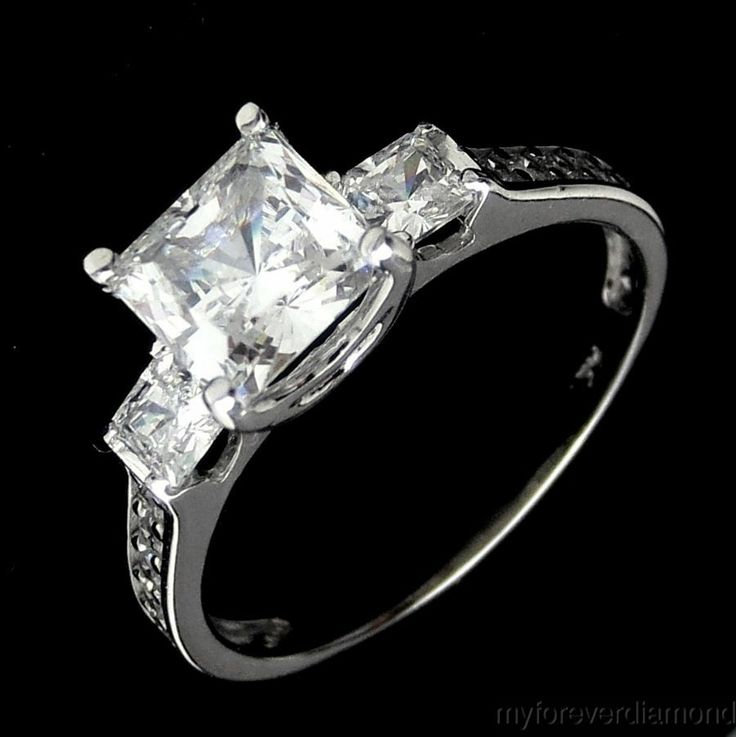 Three-Stone PRINCESS cut Imitation Diamond Engagement Ring 14K SOLID ...