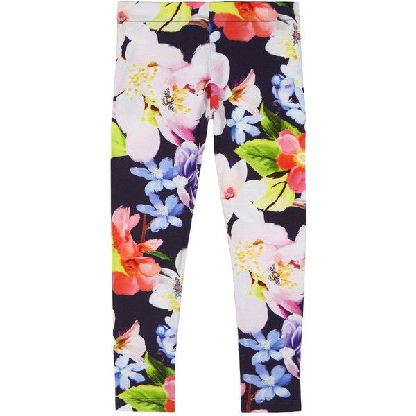 Baker By Ted Baker Girl Floral Print Leggings ($15) ❤ liked on Polyvore featuring pants, leggings, flower print leggings, floral trousers, white pants, white leggings and floral print pants