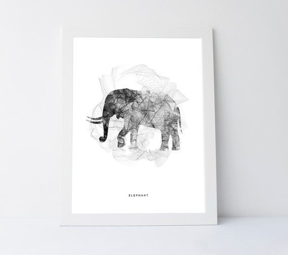 Elephant wall art digital print art printable african print black white print safari decor african decorblack and white elephant art