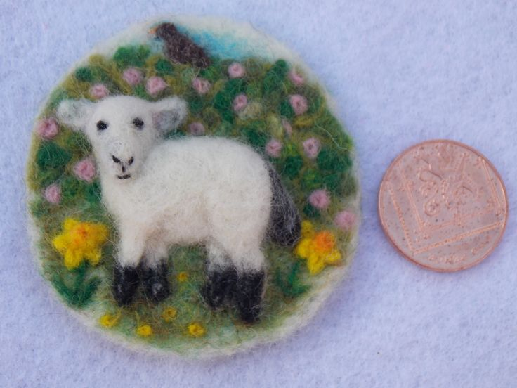 HERE COMES SPRING - another 2 inch 3D needle felted brooch/sew on patch :)