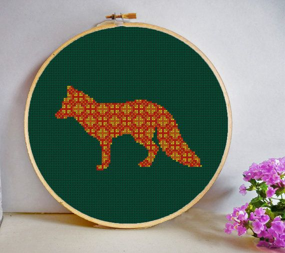 Woodland Fox Mosaic Cross Stitch Pattern PDF by HeritageStitch