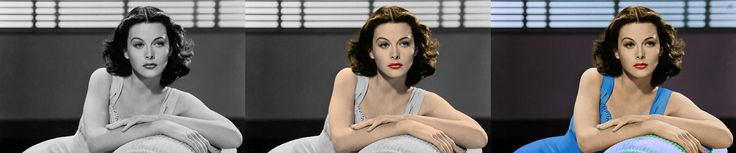 Hedy Lamarr beautiful actress and intelligent woman from black and white to colour with photoshop