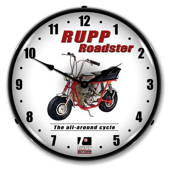 Antique Style Rupp Minibike Led Lighted Backlit Clock Wall Clock Light Clock Wall Clock