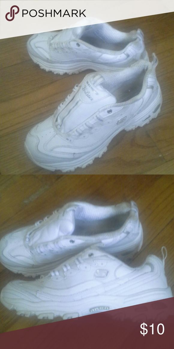 Skechers  D lites sneakers  white size 7.5 Skechers D Lites white sneakers in good condition have been worn and dont have laces in them at the moment. Size 7.5. Skechers Shoes Athletic Shoes