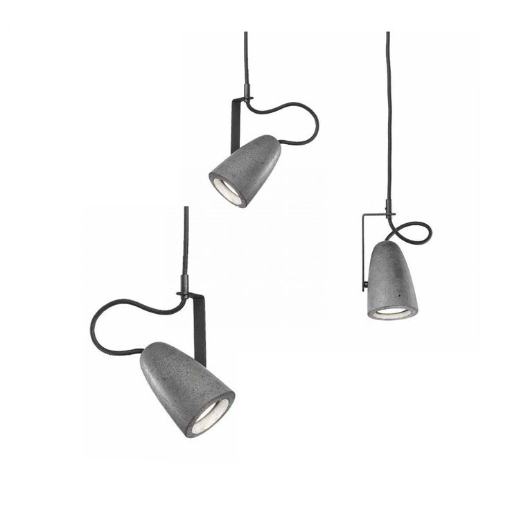 FORATA Suspension lamp Lamps collection in natural cast concrete with alluminium detail in lacquered white (40) or embossed anthracite. Dark brown twisted cord. Lights bulbs GU 10X4W LED included. Design:SACCON - FAVARETTO