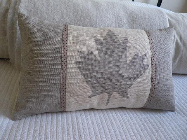 hand printed dove grey Canadian flag cushion cover. $76.00, via Etsy.