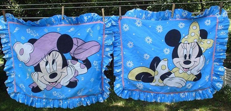 Vintage Minnie Mouse Pillow Shams Pillowcases Blue Ruffles Disney Fabric Cutter #Disney