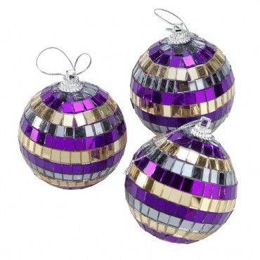 Christmas Glass Mosaic Baubles 3 Pack - Christmas Precious Metals - Christmas Themes - Christmas