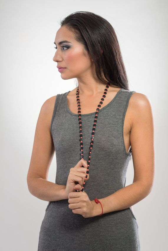 Long bicolor wooden necklace black and coral light by LauraRosa