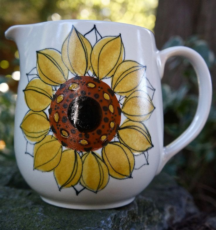 "Mid-Century, Arabia Finland Sunflower Pitcher designed by Hikka Liisa Ahola, Signed ""Arabia HLA/LP"""