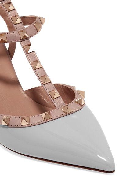 Valentino - Rockstud Patent-leather Pumps - Light gray - IT
