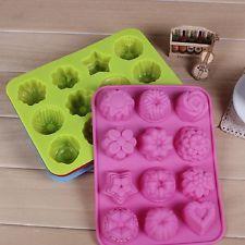 новый силиконовый 12 кубов цветы льда шоколада желе булочки печенье DIY выпечки пресс-формы