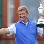 Ernie Els of South Africa poses with the Claret Jug after winning the 141st Open Championship at Royal Lytham
