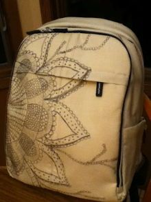 Ikea Upptäcka backpack (www.ikea.com), customised by Virginia Bailey: http://virginiajbailey.blogspot.co.uk/2012/04/ikea-backpack-customized-with-original.html