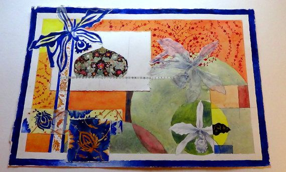 Orchid Pattern. Orginal Watercolor Collage by TheFineToothedComb