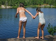 U can do it! - swim, sisters, cliff, landscape, jump, children, quotes, inspiration, rock jumping, grundy, ontario, provincial park, canada
