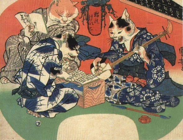 <猫のけいこ : NEKO NO KEIKO> CATS TAKING A LESSON KUNIYOSHI UTAGAWA 1798-1861 Last of Edo Period