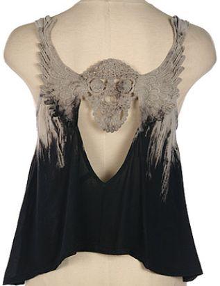 Acid Wash Skull Crochet Tank on sale! www.shopftgs.com