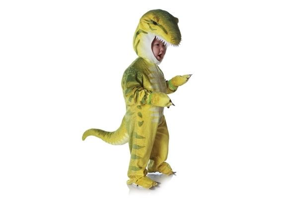 T-Rex Costume  Fully screenprinted lightweight jumpsuit with plush hood and tail  Fully detailed character hood with realistic eyes  Shoe covers let your child wear real shoes underneath the costume