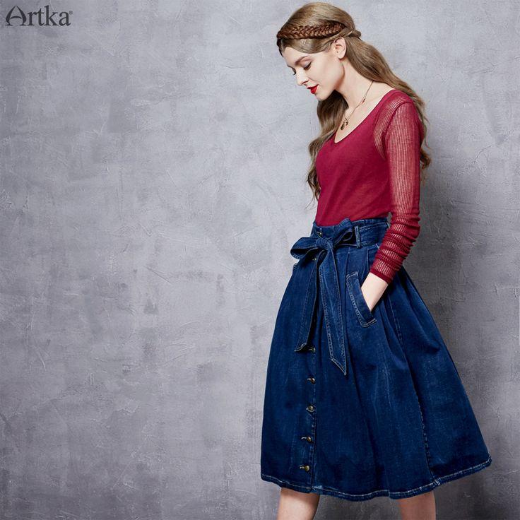 Темно-синяя юбка-миди на пуговицах с бантом на широком поясе