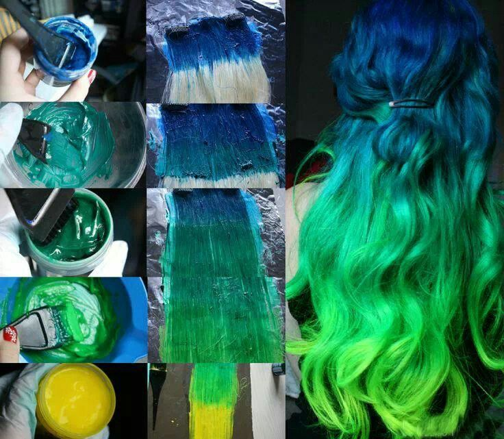 blue to green hair ombre fun colored hair pinterest