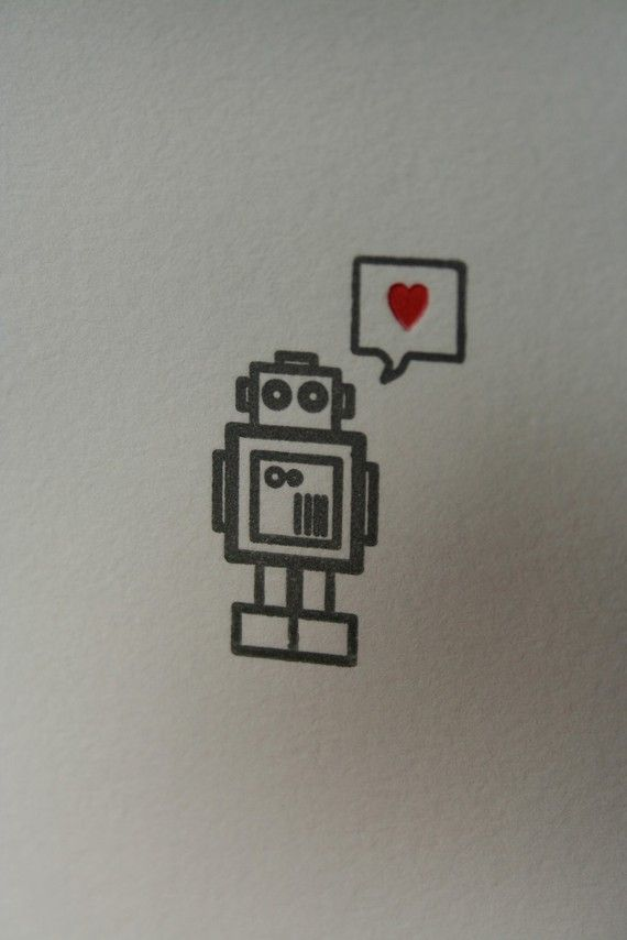 Letterpress Printed Robot Heart Card by twinravenpress