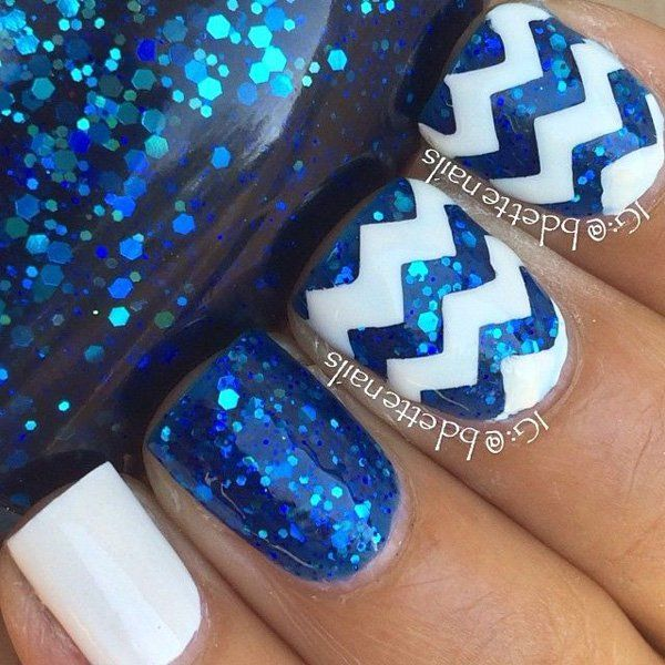 Cool looking sandwich glitter nail art design in blue glitters and white polish with clear sheer polish for the sandwich effect.
