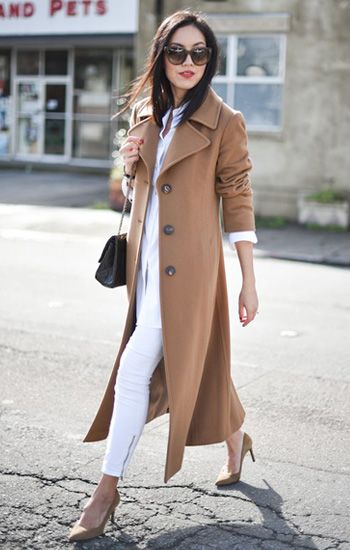 Total white look + #camelcoat