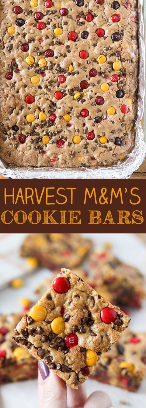 Harvest M&M's Cookie Bars for Halloween or Thanksgiving