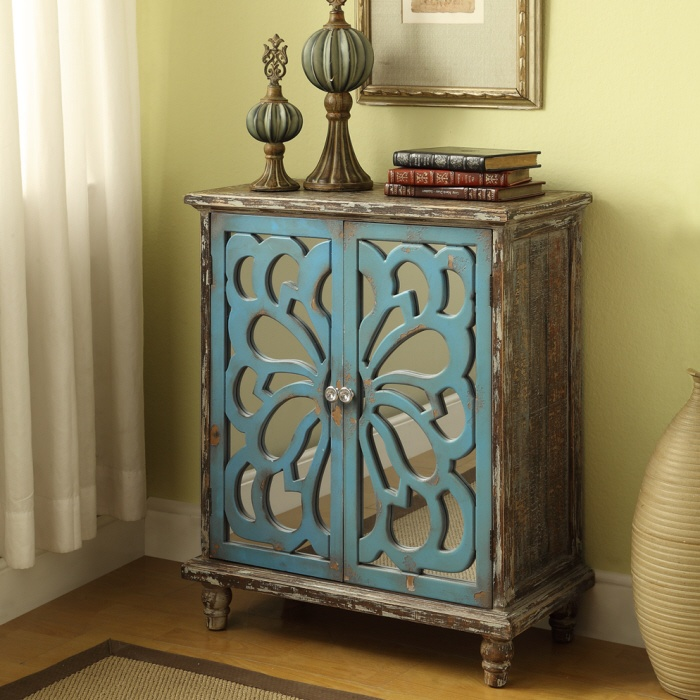 gorgeous rustic blue cabinet  Turquoise (& other incidential colours