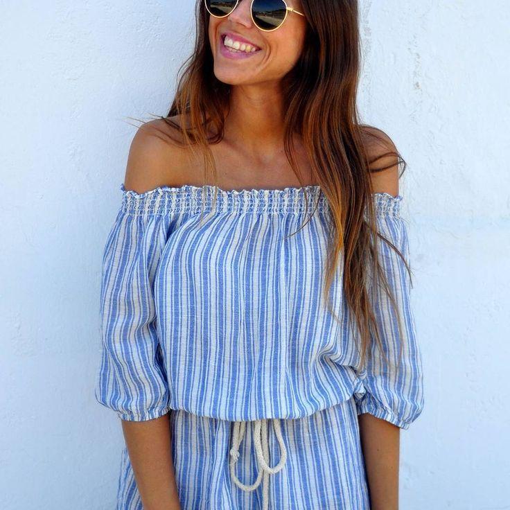 Look de hoy: ¡sonrisa + #mono de rayas! #algobonito #algobonitoenrebajas #algobonitoenverano #verano #summertime #fashion #bardot