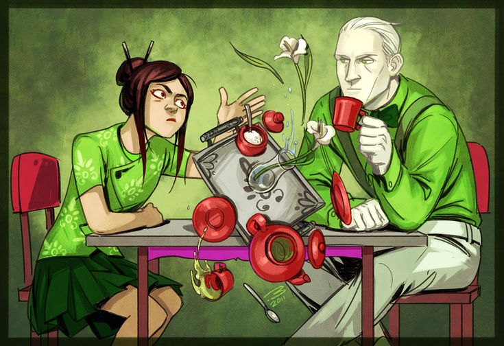 """""""YOU'RE NOT MY REAL DAD."""" """"It seems we'll have to restrict your tea privileges now."""" --- oh my God someone did humanstuck Handmaid and Doc Scratch this is perfect"""