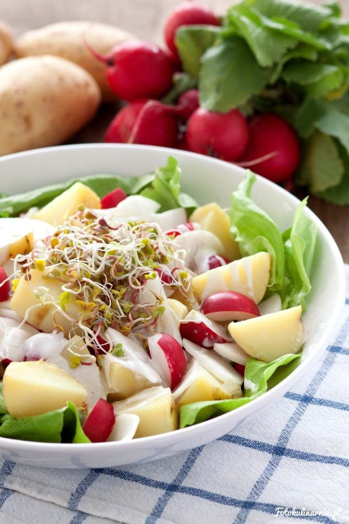 Young Potatoes, Red and White Radish and Sprouts Spring Salad
