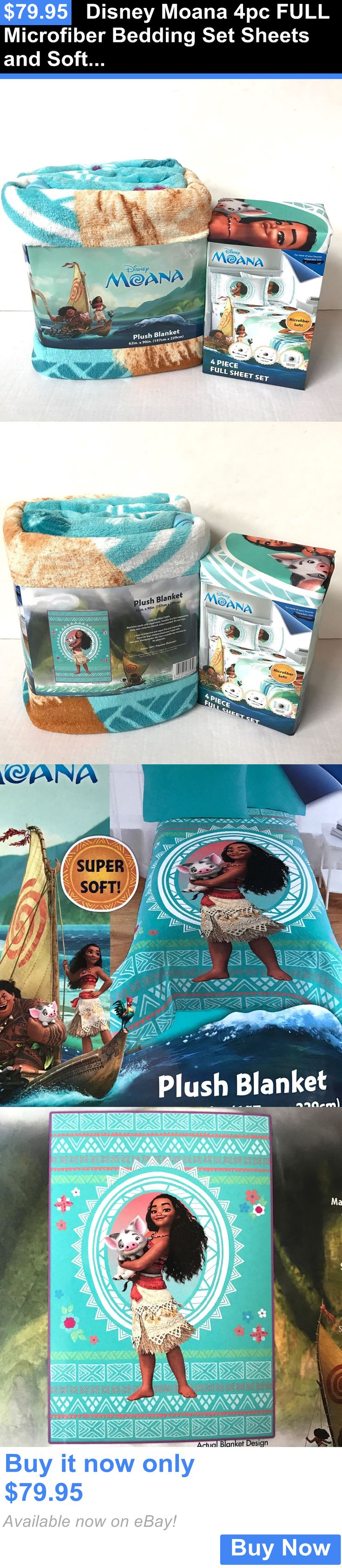 Kids Bedding: Disney Moana 4Pc Full Microfiber Bedding Set Sheets And Soft Plush Blanket BUY IT NOW ONLY: $79.95