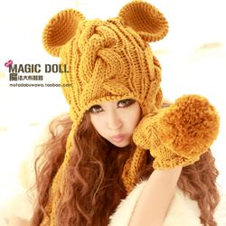 魔法大布娃娃正品韩国秋冬恶魔角针织帽韩版猫耳朵毛线帽子