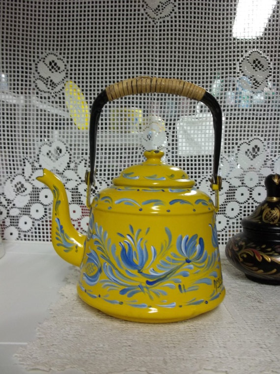 A Yellow Enamelware Tea Pot Hand Painted in an by FolkArtByNancy, $45.00