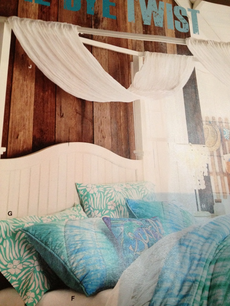 Wood wall white bed turq bedding