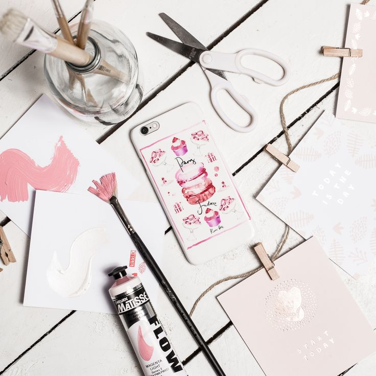 #paint #pink #white #pretty #blush #phone #flatlay