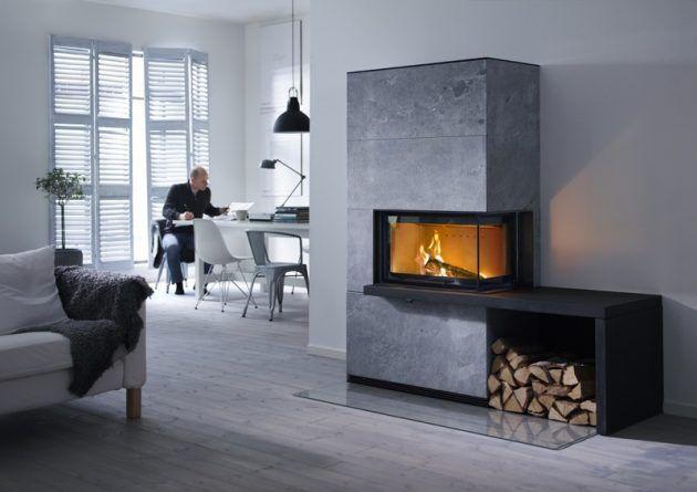 Ein großer, grauer Kamin von Contura mit integrierter Holzlagerung * Wohnideen für dein Zuhause