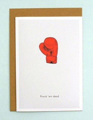 Knock Em Dead Boxing Glove Illustration Good Luck Card