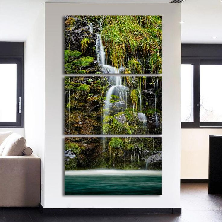 3 piece Modular Wall Paintings HD Printed Mountain Waterfall Chinese Wall Art Decorative Canvas Pictures Free Shipping ny-6786B