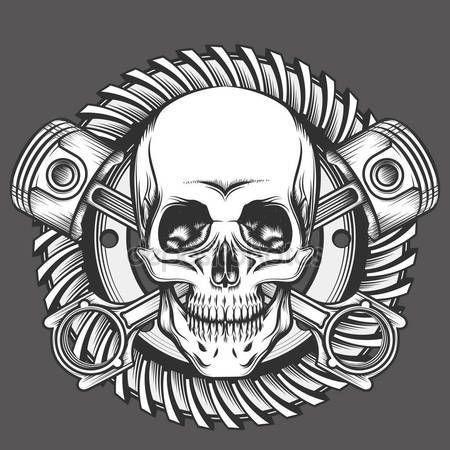 Vintage crânio com pistão cruzado e emblema de engrenagem da motocicleta. Elemento do projeto clube de motoqueiros ou motos oficina. Ilustração vetorial no estilo de gravura